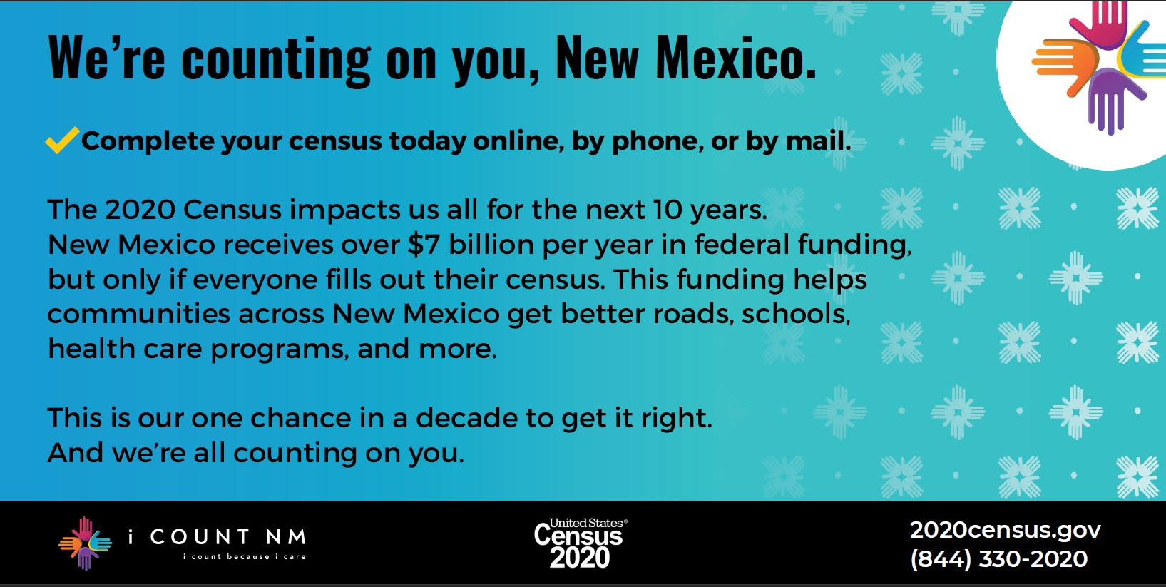 Complete your census today online, by phone or by mail. 2020census.gov (844)330-2020