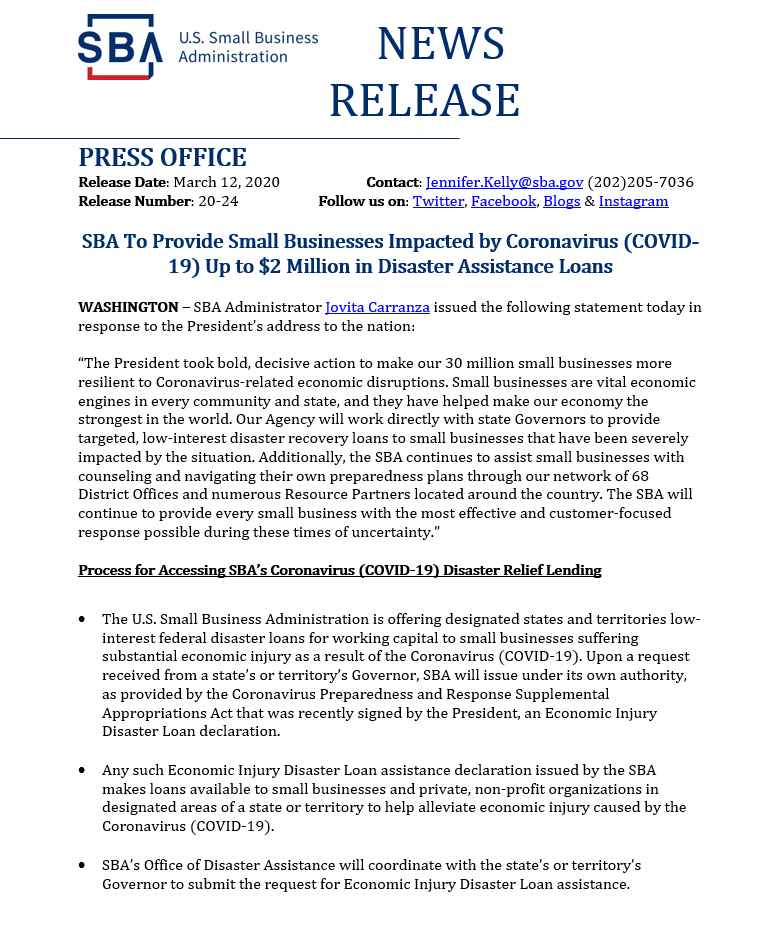 SBA To Provide Small Businesses Impacted by Coronavirus (COVID-19) Up to $2 Million in Disaster Assi